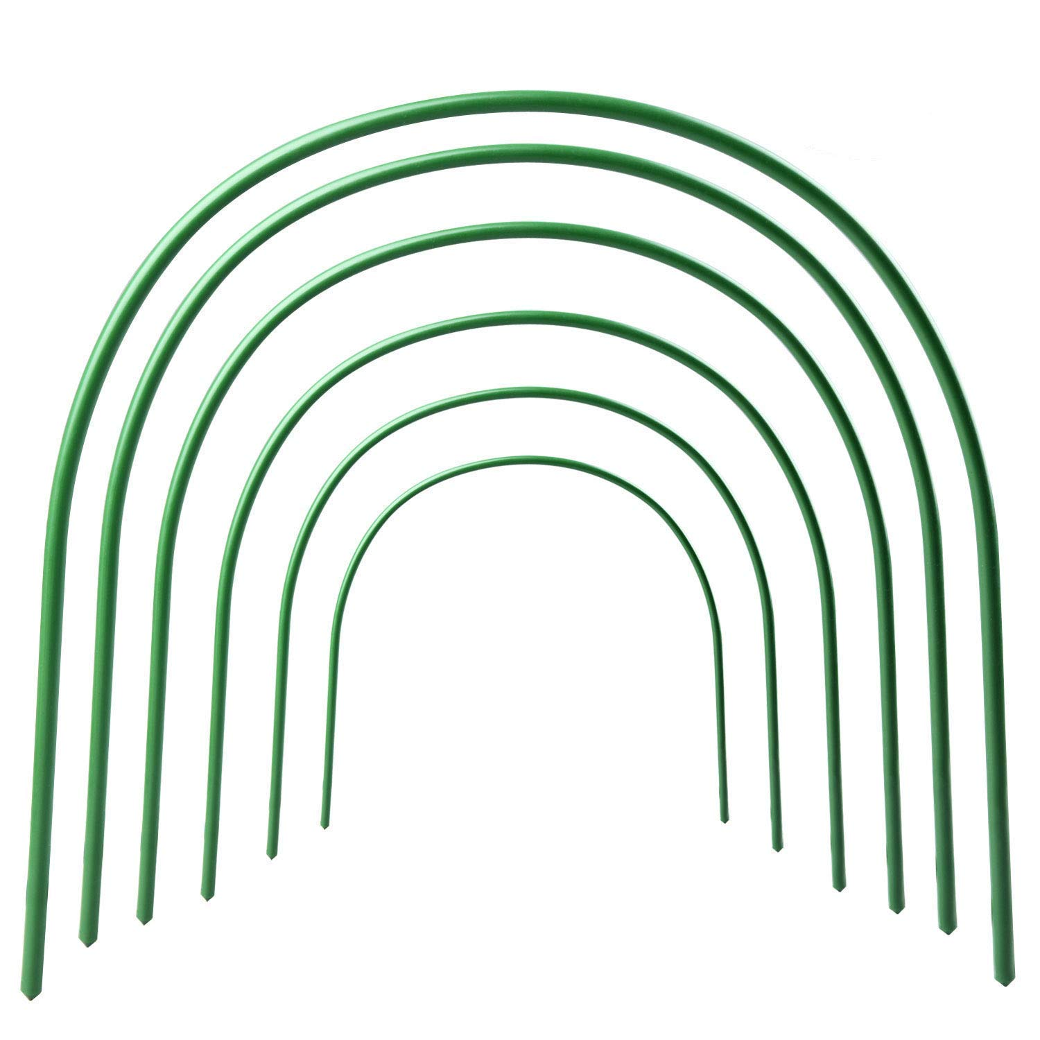 B&P Portable Garden Hoops Hoop Greenhouse Plant Hoops, Rust-Free Grow Tunnel 4ft Long Steel with Plastic Coated Hoops,Greenhouse Support Hoops for Garden Hoop,6Pack (Arch Size: 18.5'' H x 19.6'' W) by B&P (Image #1)