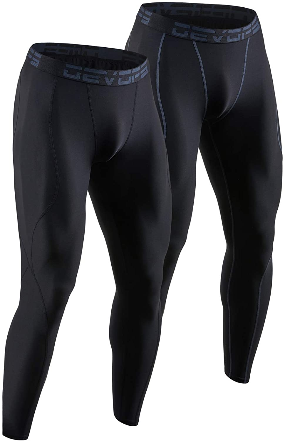 X-Large, Black//Charcoal DEVOPS Mens 2 Pack Compression Cool Dry Tights Baselayer Running Active Leggings Pants
