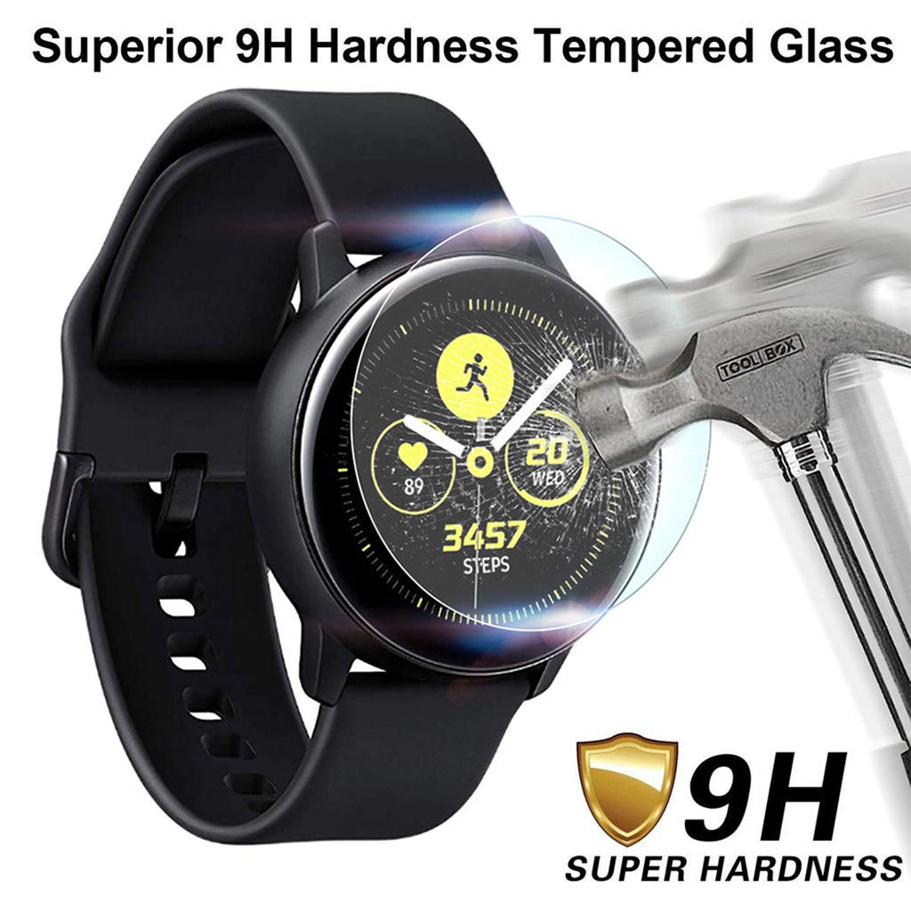 Cyhulu 2019 New Fashion Clear Tempered Glass Screen Protector Film for Samsung Galaxy Watch Active, Pack of 2