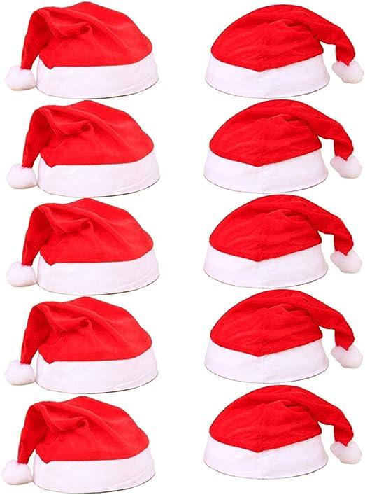 MUCHEN SHOP Gorro Santa Claus,10pcs Gorros Rojos de Papá Noel Incluyendo 5pcs Sombrero de Navidad Adultos y 5pcs Gorro Navideño Niños para Decoraciones de Fiestas Navideñas Material de Terciopelo: Amazon.es: Hogar