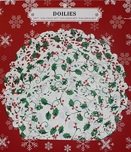 24 Assorted Lace Paper Doilies Holly & Ivy Christmas