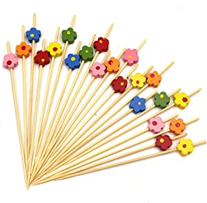 Disposable Bamboo Sticks, 4.7inch Multicolor Fruit Appetizing Long Toothpicks Bamboo Cocktail Skewers Appetizers Fruit Sandwiches Desserts Party Food Decoration (01)