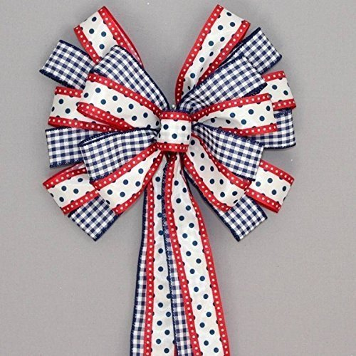 Navy Gingham Red Polka Dot Patriotic Wreath Bow - 10
