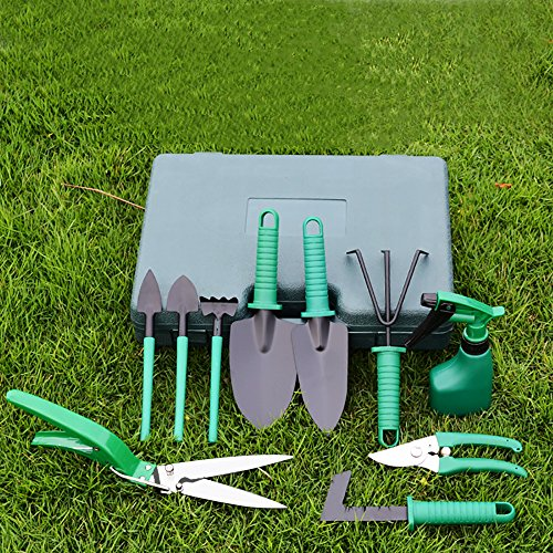 Fanme Garden Tools Kit 10 PCS Gardening Hand Tools Home Lawn Plant and Flower Care Set with Carrying Case for Men and Women Include Trowel Pruners Rakes Water Sprayer
