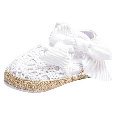 0986155038191 ESTAMICO Infant Girls  Net-Yarn Dentelle nœud Sandales 12-18 Meses Blanc