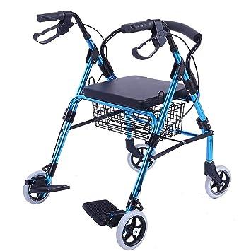 Yxsd con Pedal de pie Andador para los Ancianos Carrito de la Compra de Viaje Carrito Puede Sentarse Plegable con Ruedas Andador: Amazon.es: Hogar