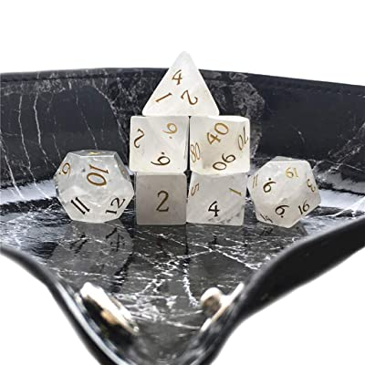 Truewon Stone Dice , Set of 7 Handmade Dice for RPG ,DND Made by Natural Gemstones. (White Crystal A): Toys & Games