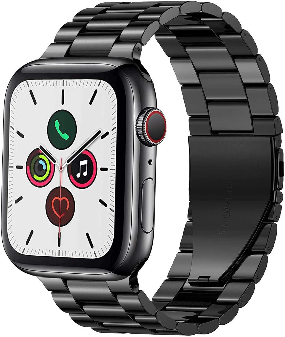 PUGO TOP Bands Compatible with apple watch 44mm Series 6/5/4 42mm Series 3 2 1 SE Stainless Steel Metal iWatch Strap iPhone Watch Link Bracelet Band for Men(42mm/44mm, Space Gray)