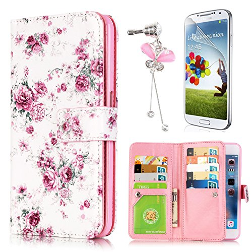 Samsung Galaxy S6 Edge Case, Sunroyal Slim Floral Peony Pattern PU Leather Wallet Flip Stand Cover with Card Pockets Built-in 9 Card Slots Anti-dust Plug Bubble-Free Screen Protector (Pedestal Peony)