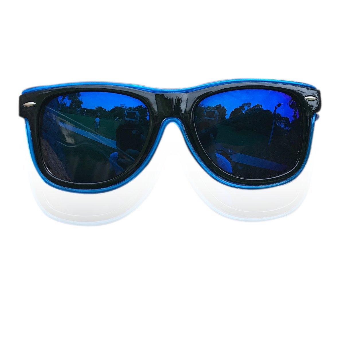 Light Up Sunglasses Multicolor Lens El Wire Wayfarer Glasses Sound Activated Led Flashing Glasses (Blue, Blue)