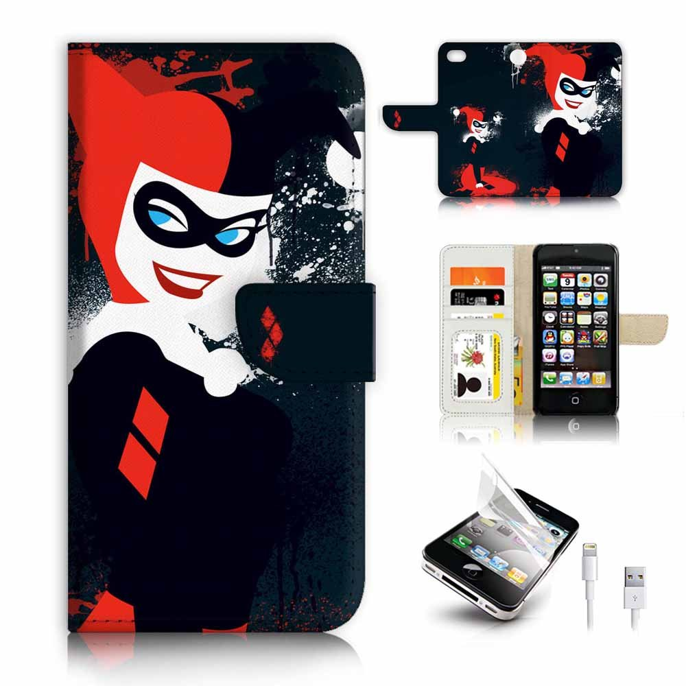 ( For iPhone 5 5S / iPhone SE ) Flip Wallet Case Cover & Screen Protector & Charging Cable Bundle! A9420 Harley Quinn