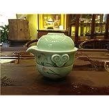 Set of 3 Portable Chinese Celadon Tea Set (Hand Painted Lotus/green)