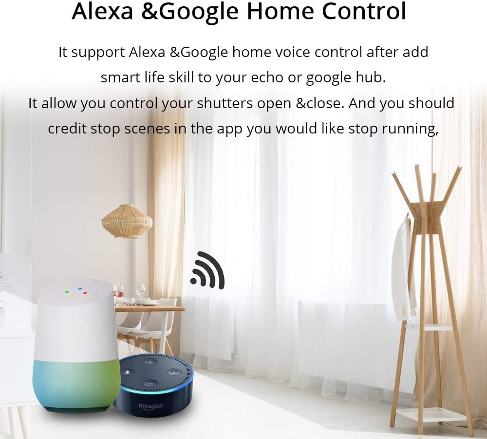 UE Tipo cortina Interruptor de pared WIFI Control a través de APP o Control  de voz por Alexa Google casa ca a 18 V traje para rodillo obturador