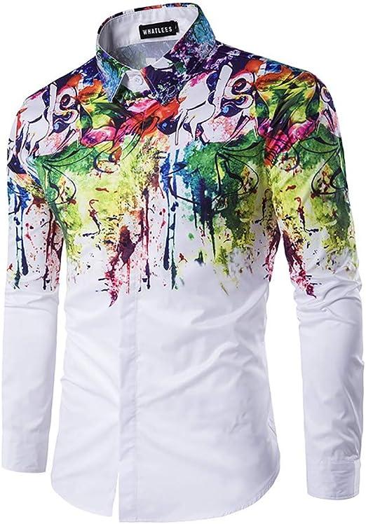 YaXuan Camisa de Hombre, Moda Masculina, Camisa Urbana, Tinta, Salpicadura, Pintura, Color, Autocultivo, Ocio, Manga Larga, Camisas, Tops (Color : 1, tamaño : SG): Amazon.es: Jardín
