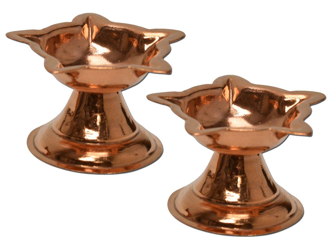 Set of 2 Copper Diyas with Five Edges, Panchmukhi Copper Diya