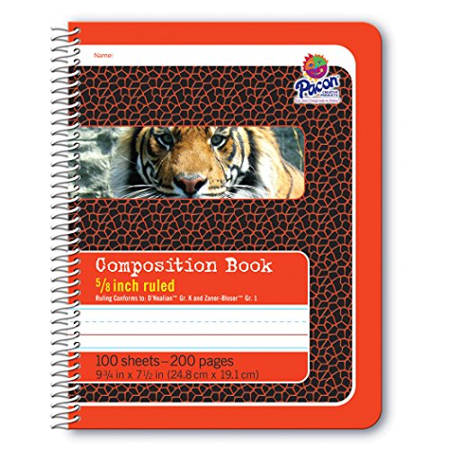 Pacon Primary Composition Spiral Book 5/8-in. Ruled, 100 Sheets, Red (2432) (Books Composition Spiral)