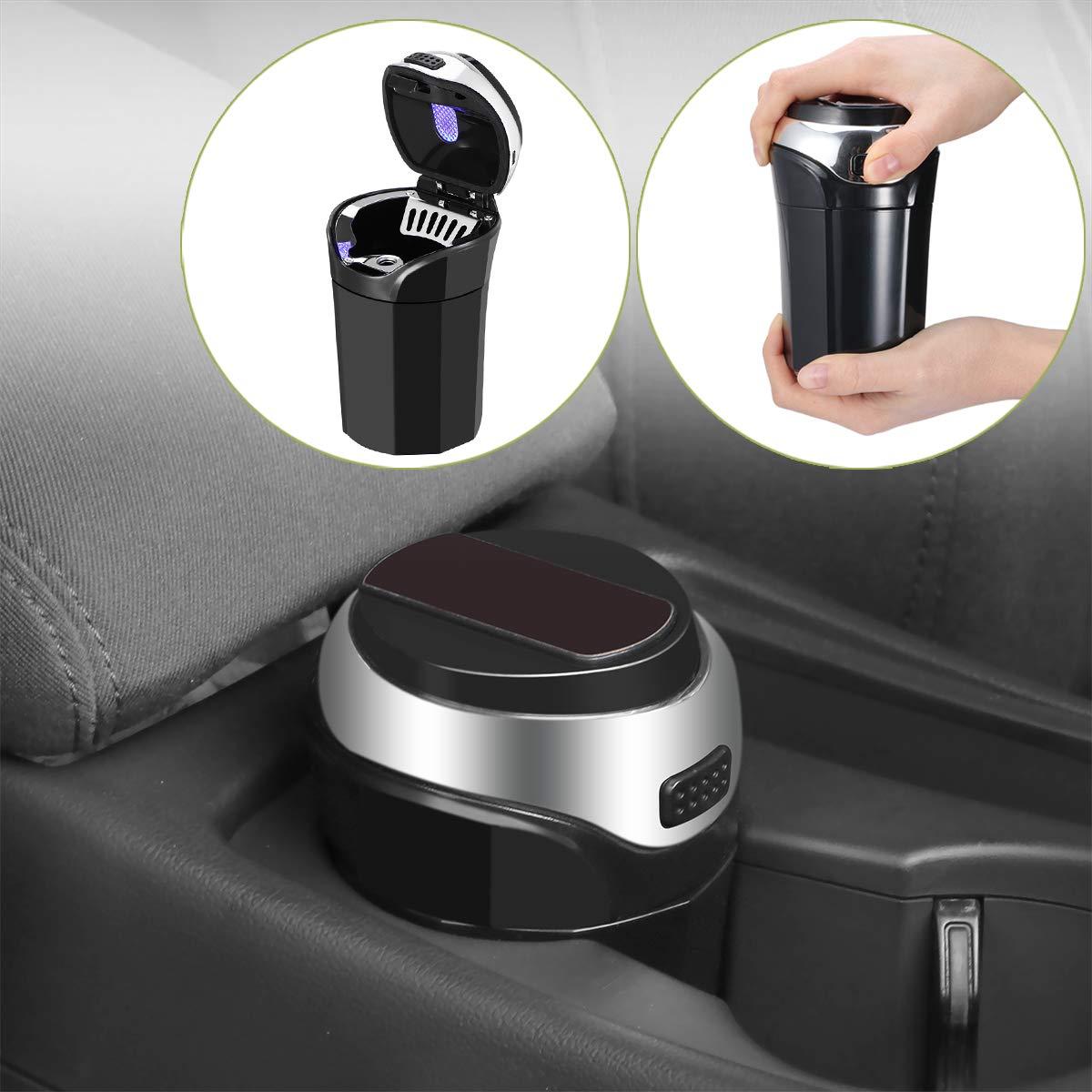 Posacenere LED per auto Posacenere per auto ricaricabile in acciaio inox con accendisigari estraibile e luce LED blu per portabicchieri auto senza fumo staccabile