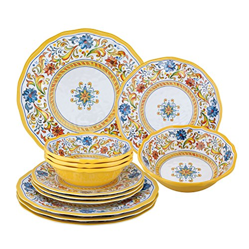 (Gourmet Art 12-Piece Damask Floral Melamine Dinnerware Set)