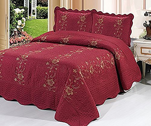 Homemusthaves-3 Piece Quilted Bedspread Burgundy Quilt Sham
