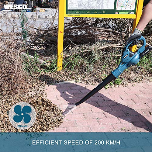 Cordless Leaf Blower, WESCO 18V 2.0Ah Home and Garden Blower, Detachable Cleaning Tool of 200 km/h Speed, Lightweight Body, Soft Grip Handle with Charger and Lithium-ion Battery/WS8511