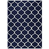 Maples Rugs Rebecca 5 x 7 Large Area Rugs [Made in USA] for Living, Bedroom, and Dining Room, Navy Blue/White