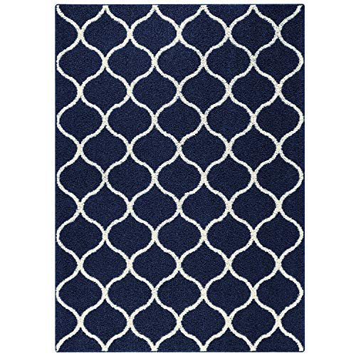 Maples Rugs Rebecca Contemporary Area Rugs for Living Room & Bedroom [Made in USA], 5 x 7, Navy Blue/White