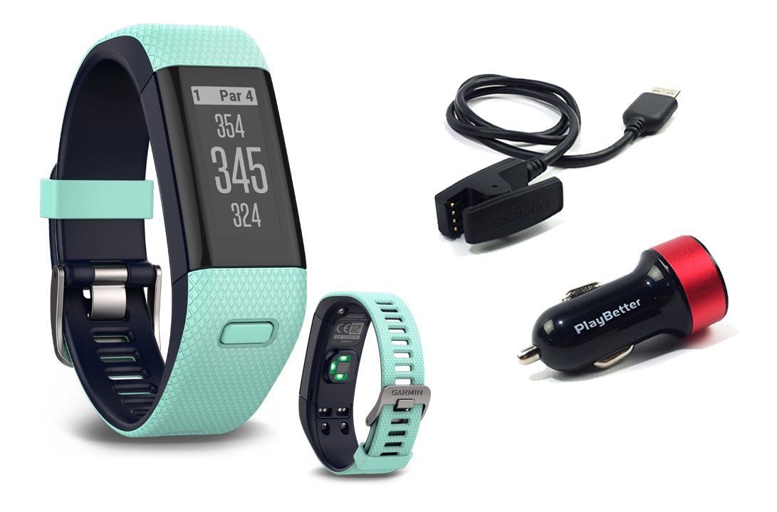 Garmin Approach X40 (Frost Blue) Golf GPS & Fitness Band BUNDLE with PlayBetter USB Car Charge Adapter