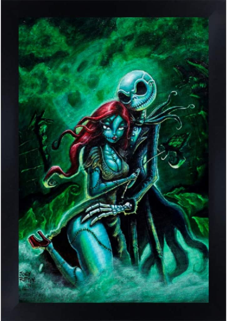 Amazon Com Jack And Sally By Joey Rotten Nightmare Before Christmas Framed Wall Art Print Posters Prints