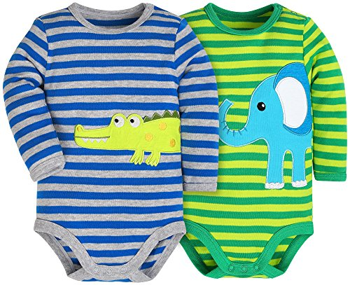 HONGLIN Newborn Baby Boys Girls Yarn-Dyed Striped Long Sleeve Bodysuit Cotton Onesies with Elephant and Crocodile(2 Pack Striped, 6-9 Months) (Striped Onesie Bodysuit)