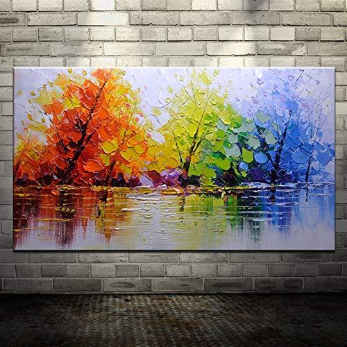 XIAOXINYUAN 100% Handmade Peint À La Main Peinture À l'huile Arbre Coloré Abstract Modern Art Wall Photo De Décoration D'Intérieur Peinture À l'huile 60×120Cm