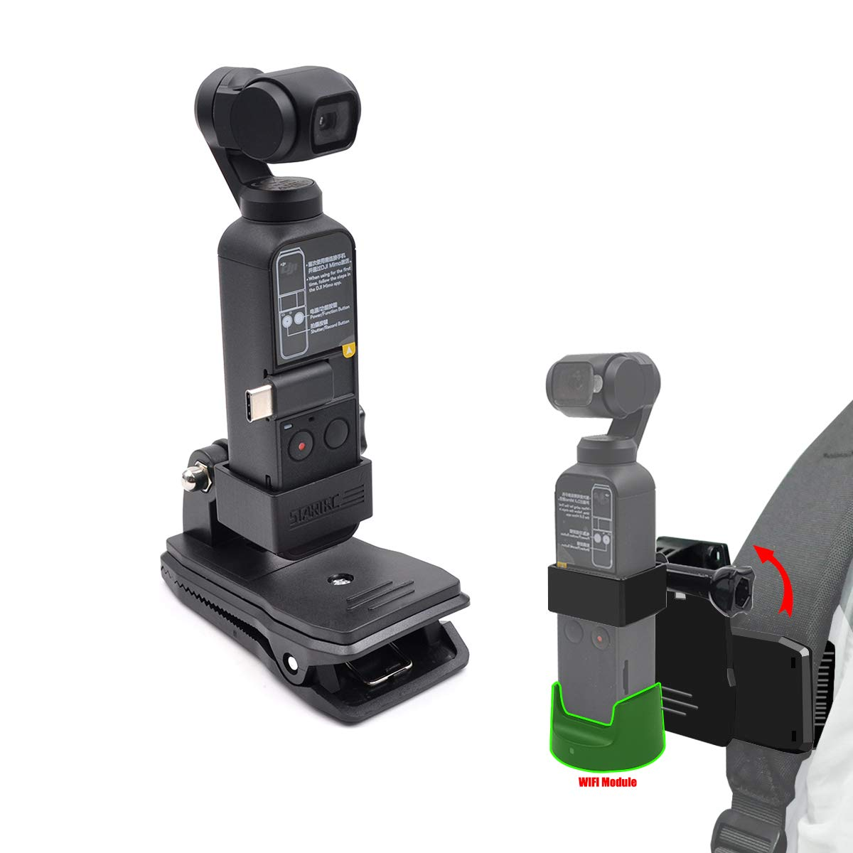 STARTRC Osmo Pocket Mount Tripod Backpack Clip For DJI OSMO Pocket Accessories Compatible OSMO Pocket Wireless Module