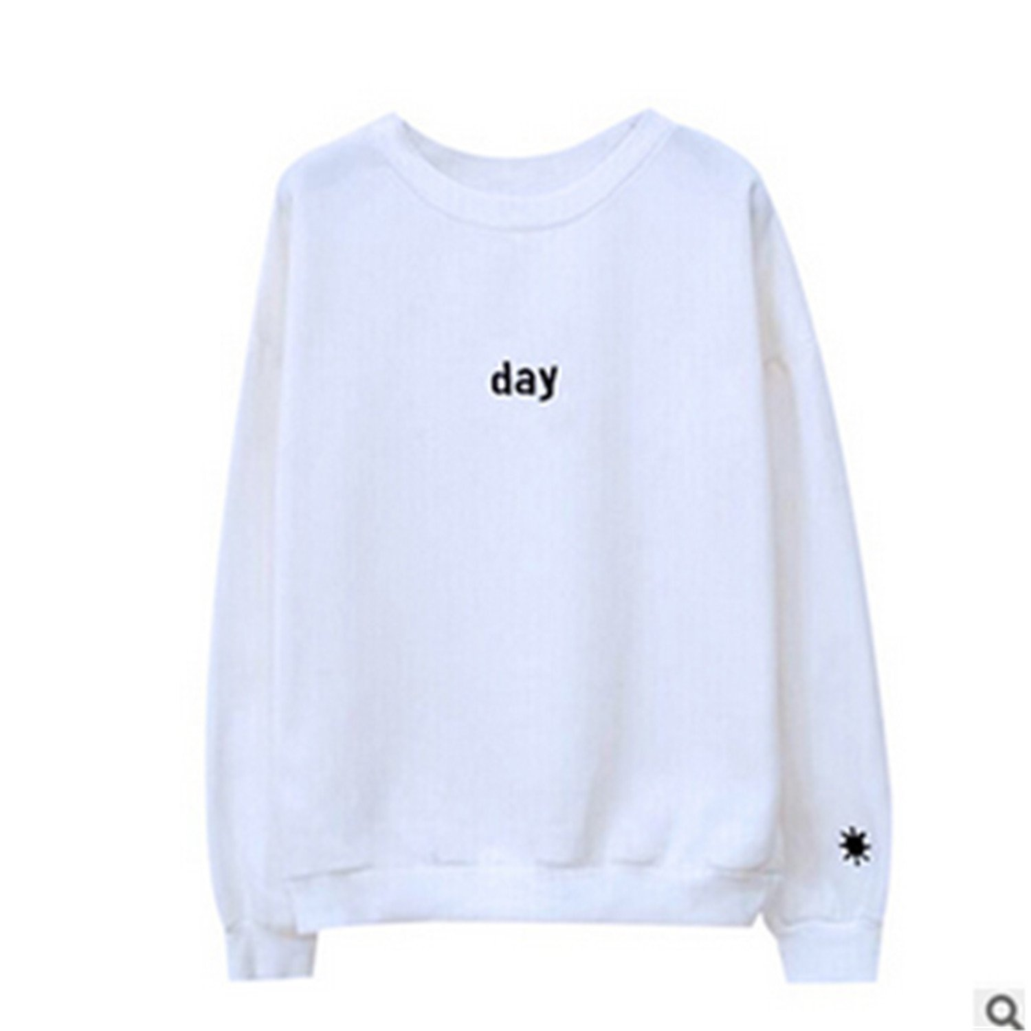 Henraly Letters Day&night Embroidered Sweatshirt Women Long Sleeve Hoodie Loose Sweatshirts at Amazon Womens Clothing store: