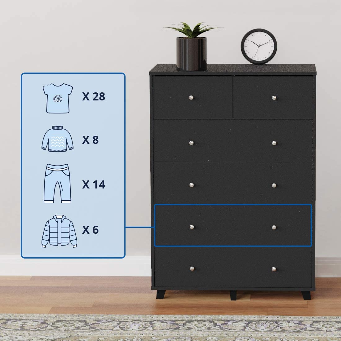 2 Small Drawers and 4 Large Drawers Sufficient for Bedroom Storage Wood Black Dresser Cozy Castle 6-Drawer Dresser Vertical Dresser Chest of Drawers for Bedroom