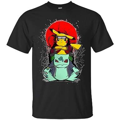 Pikuto Pikachu Bulbasaur Naruto Mashup Pokemon Naruto Shippuden Adult T-Shirt