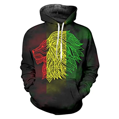 pinata Rasta Lion Printed Pullover Hoodie Men 3D Cool Hooded Sweatshirt  Casual Pockets 8d43190044