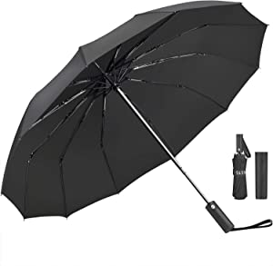 Umbrella,JUKSTG 12 Ribs Auto Open/Close Windproof Umbrellas, Waterproof Travel Umbrella,Portable Umbrellas With Ergonomic Handle,Black