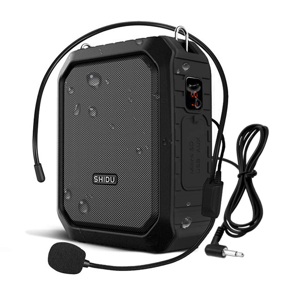 SHIDU Bluetooth Voice Amplifier, Personal Voice Amplifier 18W with Wired Microphone Headset Portable Waterproof Bluetooth Speaker Rechargeable PA System Power Bank for Outdoors,Teachers,Shower,Beach by SH1DU