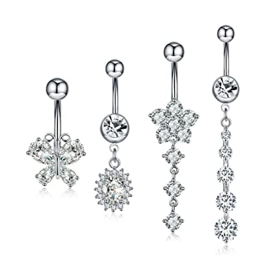 Crystal Surgical Steel Dangle Belly Button Ring Navel Body Jewelry For Women Curved Barbell Piercing