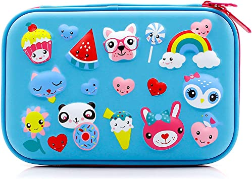 Cute School Stationery Supply Organizer Box Pen Holder for Kids Children Toddlers Purple Rainbow Unicorns Girls Big Hardtop Pencil Case with Compartment