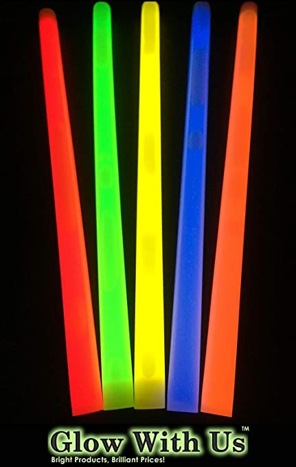 Rave Disco 6 Inch x 15mm Neon Glow Sticks Individually Wrapped Party