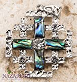 Unique Jerusalem Cross Seashell Pearl Silver Plated Pendant with Zircon Crystals Holy Land BIG