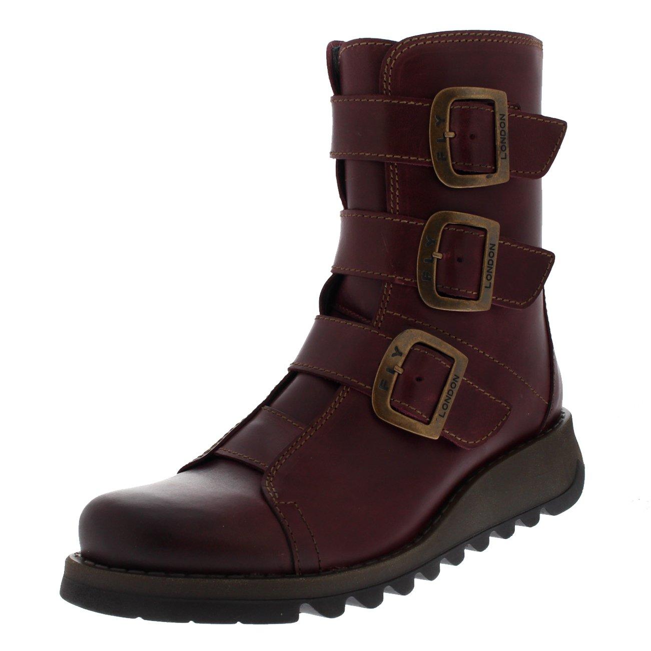 Womens Fly London Scop Rug Wedge Heel Leather Winter Biker Ankle Boots - Rug Purple - 7