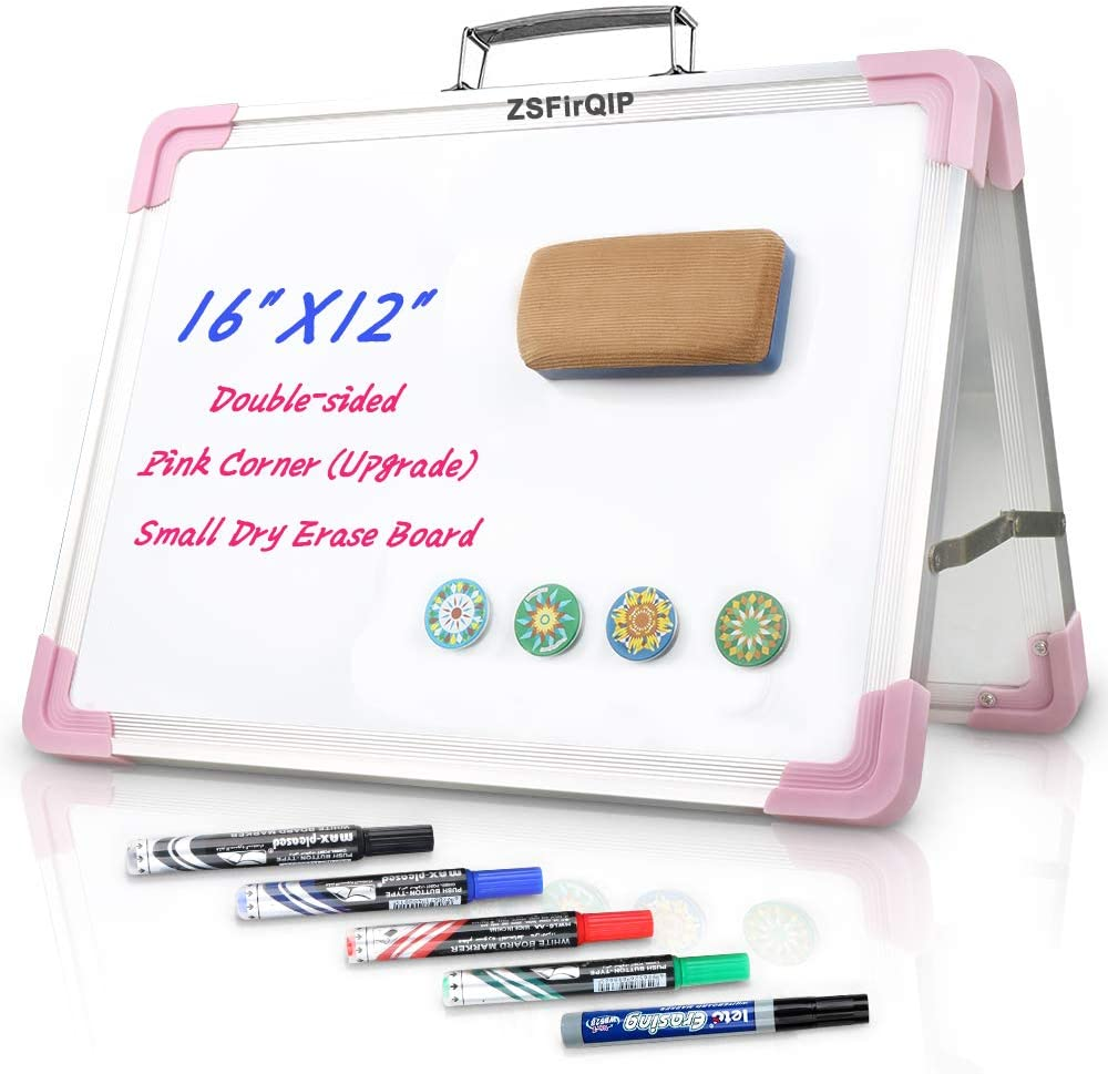 """Small Dry Erase White Board,16""""X12""""Tabletop White Board with Stand,2020 Upgrade Pink Dry Erase Board Easel for Learning Teaching,Girls Dry Erase Board with 5 Markers,4 Magnets,1 Eraser (Pink)"""