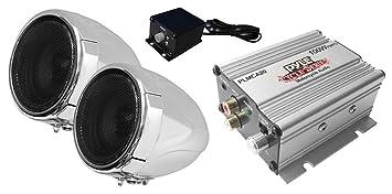 Pyle PLMCA20 - Amplificador para motos (altavoces con soporte de manillar, impermeables, 100
