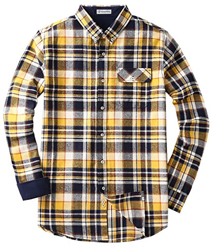 MOCOTONO Men's Long Sleeve Flannel Plaid Dress Shirt Western Button Down Shirts Yellow XX-Large
