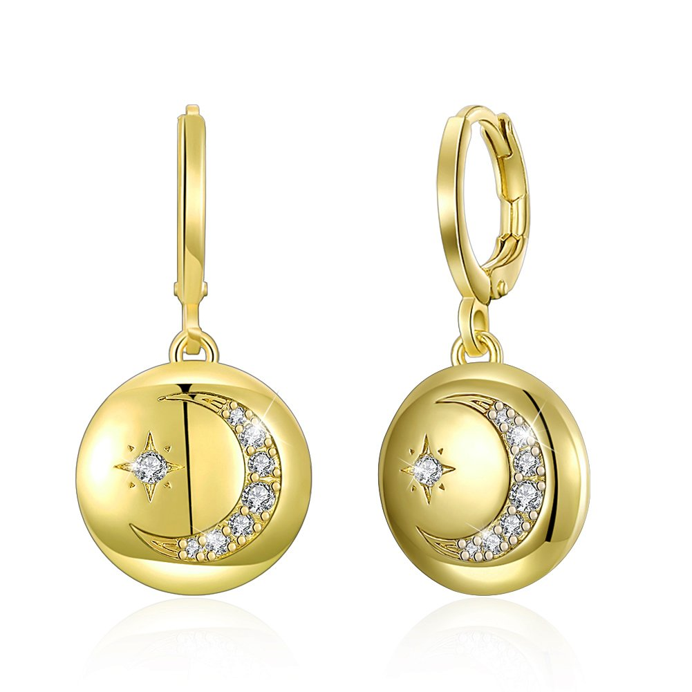 Soonvinia Moon and Star Dangle Earrings 18K Gold Plated Leverback Round Dangle Drop Earrings,Gift Box