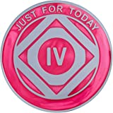 Narcotics Anonymous - 4-Year - Just For Today - Pink on Silver Plate Medallion | RecoveryShop