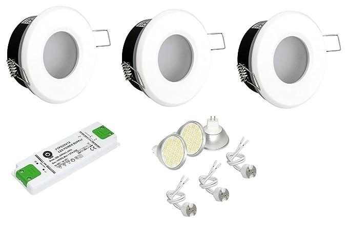Juego de 3 foco empotrable para baño color Blanco IP65 ...