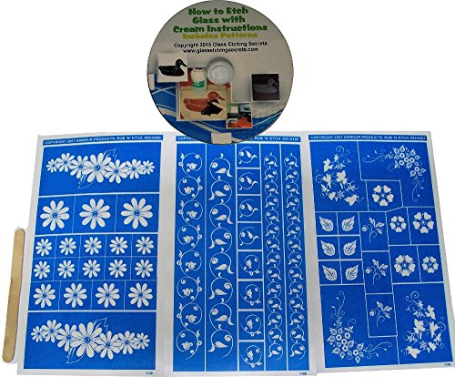 3 Pack Floral Glass Etching Stencil Designs + How to Etch CD with Patterns (Cd Stencil Designs)