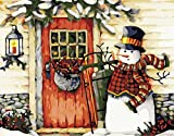 YEESAM ART New DIY Paint by Number Kits for Adults Kids Beginner - Snowman Snow Scene Snowmen Christmas 16x20 inch Linen Canvas - Stress Less Number Painting Gifts